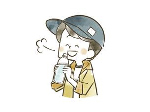 水を飲んでいる男の子のイラスト素材 [FYI04940424]