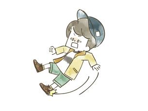 滑って転ぶ男の子のイラスト素材 [FYI04940434]