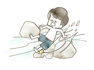 川で滑って転ぶ男の子のイラスト素材 [FYI04940435]