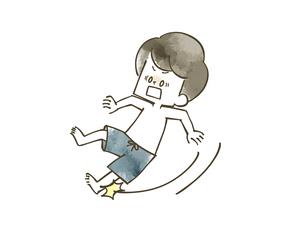 滑って転ぶ男の子のイラスト素材 [FYI04940436]