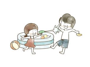 水鉄砲で遊んでいる子供たちのイラスト素材 [FYI04940438]