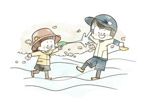 水鉄砲で遊んでいる子供たちのイラスト素材 [FYI04940442]