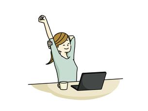 伸びをするパソコン作業中の女性のイラスト素材 [FYI04940480]