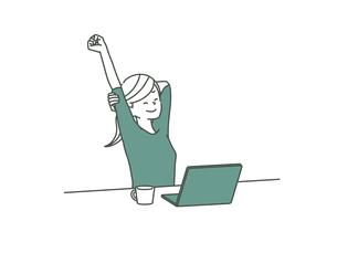 伸びをするパソコン作業中の女性-2色のイラスト素材 [FYI04940482]