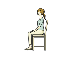 正しい姿勢で椅子に座っている女性のイラスト素材 [FYI04940484]