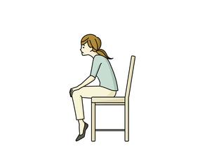 つま先を立てて前かがみに座る女性のイラスト素材 [FYI04940496]