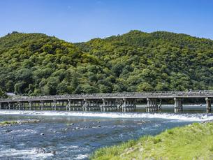 【京都 嵐山】夏の渡月橋と桂川の写真素材 [FYI04940857]