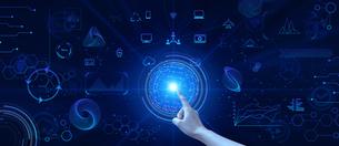 テクノロジーとインターフェースのホログラムの地球のイラストと指をさすビジネスマンの指のイラスト素材 [FYI04940911]