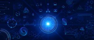 テクノロジーとインターフェースのホログラムのCGデザインのイラスト素材 [FYI04940914]