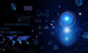 テクノロジーとインターフェースのホログラムのCGデザインのイラスト素材 [FYI04940915]