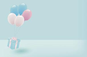 パステルカラーの風船とプレゼントボックスのイラスト素材 [FYI04941274]