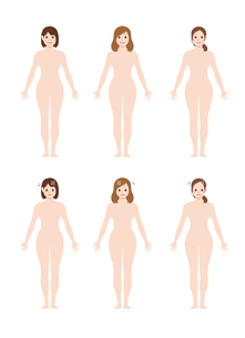 女性 全身 裸・ヌード (シルエット / 輪郭 ) / 笑顔・困る・悩み・トラブル /イラストセットのイラスト素材 [FYI04941466]