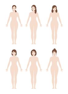 日本人・アジア人 / 女性 全身 裸・ヌード (シルエット / 輪郭 ) イラストセットのイラスト素材 [FYI04941473]