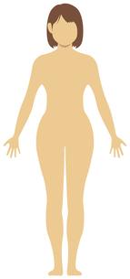 女性 全身 裸・ヌード (シルエット,輪郭 ) 顔なしイラスト (日本人・アジア人)のイラスト素材 [FYI04941477]