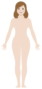 女性 全身 裸・ヌード (シルエット / 輪郭 ) / 笑顔・嬉しい・喜び /イラストのイラスト素材 [FYI04941489]