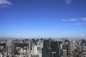 六本木ヒルズ屋上スカイデッキから望む東京スカイツリー方面の高層ビル群の写真素材 [FYI04941630]
