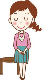 椅子から立ち上がる若い女性。のイラスト素材 [FYI04941663]