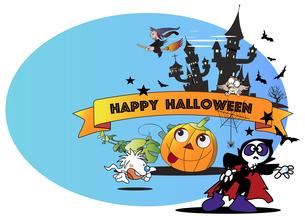 ハロウィンのかぼちゃや骸骨などの仮装パーティーのイラスト素材 [FYI04942150]