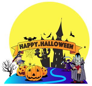 ハロウィーンの吸血鬼やコウモリの仮装パーティーのイラスト素材 [FYI04942151]