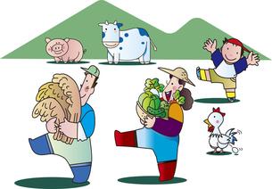 収穫の農夫と畜産業のイラスト素材 [FYI04942718]