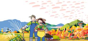 収穫の秋の農家と畜産のイラスト素材 [FYI04942719]