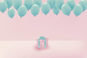 パステルカラーの風船とプレゼントボックスのイラスト素材 [FYI04942920]