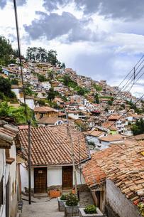 南米ペルー、クスコの家が密集する街並みの写真素材 [FYI04944953]