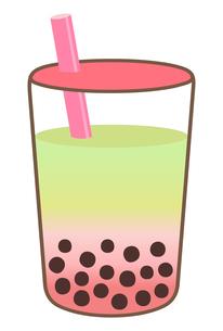 桜と抹茶のタピオカドリンクのイラストのイラスト素材 [FYI04947288]