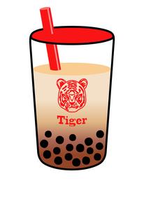虎の顔が描かれたカップのタピオカドリンクのイラストのイラスト素材 [FYI04947294]