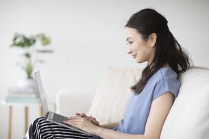 パソコンを見る女性の写真素材 [FYI04947747]