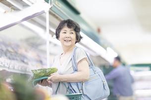 スーパーでほうれん草を手に取るシニア女性の写真素材 [FYI04948473]