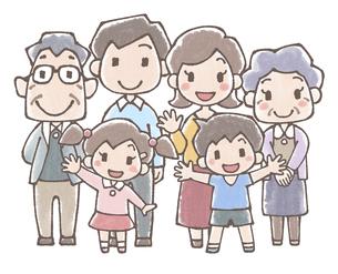 三世代家族の全身イラスト水彩風のイラスト素材 [FYI04948500]