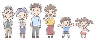 三世代家族の全身イラスト水彩風のイラスト素材 [FYI04948501]