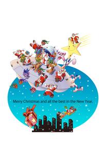 サンタクロースとUFOのイラストクリスマスカードデザインのイラスト素材 [FYI04948688]