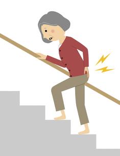 階段を上る腰痛のシニア女性のイラスト素材 [FYI04949898]