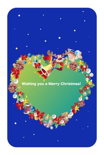 ハートのリースの英文の挨拶の入ったクリスマスカードのイラスト素材 [FYI04950843]