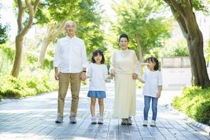 孫と緑地を散歩するシニア夫婦の写真素材 [FYI04951111]