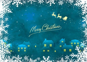 クリスマスイメージイラスト(ビンテージテクスチャ) / ポストカード・葉書のイラスト素材 [FYI04951520]