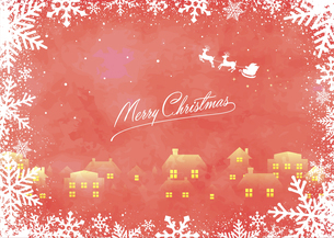 クリスマスイメージイラスト(ビンテージテクスチャ) / ポストカード・葉書のイラスト素材 [FYI04951524]