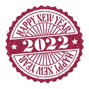 2022 年賀状素材 Happy New Year スタンプ イラストのイラスト素材 [FYI04951530]