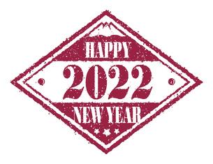 2022 年賀状素材 Happy New Year スタンプ イラストのイラスト素材 [FYI04951531]