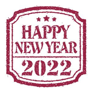 2022 年賀状素材 Happy New Year スタンプ イラストのイラスト素材 [FYI04951536]