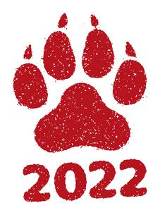 2022 令和4年 年賀状素材 / 虎・寅の足跡 スタンプ イラストのイラスト素材 [FYI04951588]