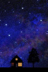 星空と灯のついた家のイラスト素材 [FYI04952226]