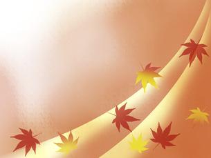 オレンジ色の背景に色づいた落葉の紅葉フレームのイラスト素材 [FYI04952296]