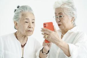 試行錯誤しながらスマートフォンを操作するシニア女性たちの写真素材 [FYI04952351]