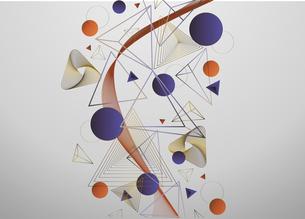 三角図形と円形図形の線のイラストのイラスト素材 [FYI04952458]