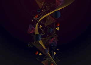三角図形と円形図形の線のイラストのイラスト素材 [FYI04952489]