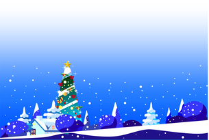 クリスマスツリーのある街並みの風景イラストのイラスト素材 [FYI04952848]