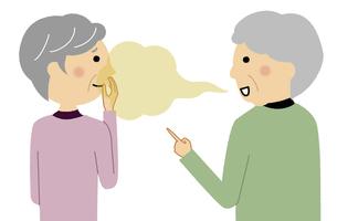 口臭がキツいシニア女性 会話のイラスト素材 [FYI04953109]